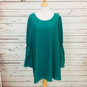 Green Bell Sleev Dress